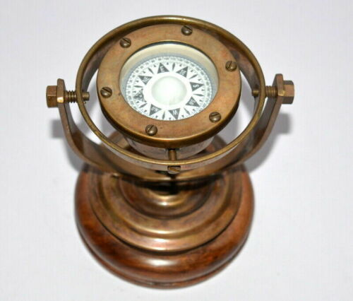 Antique brass nautical gimbal compass vintage ship