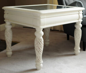 Solid Wood White Mirrored Table