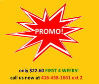 SUMMER SPECIAL!  ONLY $22.60/First 4 Weeks. Limited Availability