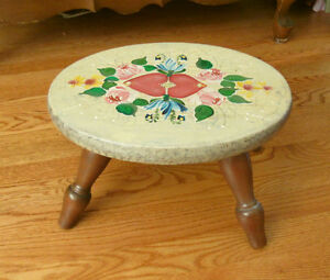 "Wood Hearts & Flowers FOOT STOOL - 13.5 x 8"" - Hand Painted"