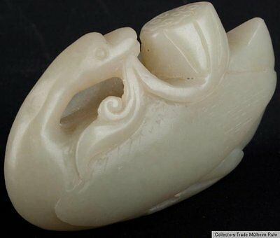 China 19./20. Jh. A Small Chinese Jade Carving of a Goose Giada Cinese Chinoise