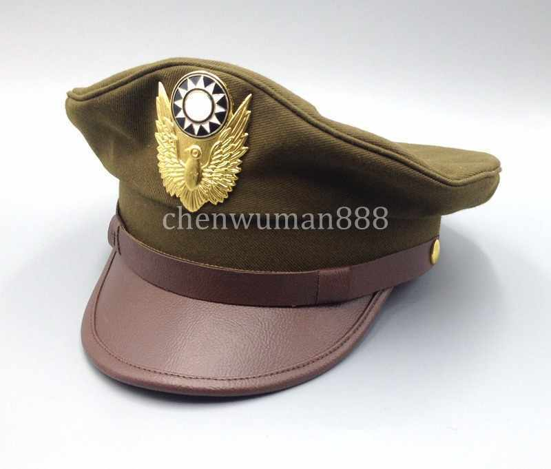 WW2 CHINA MILITARY KMT AIR FORCE TYPE OFFICER FIELD SERVICE CAP HAT L