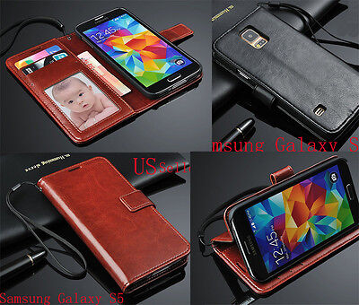 Luxury Genuine Leather Phone Case Stand Wallet Cover For Samsung Galaxy S5 S4