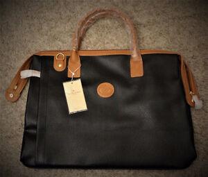 David Jones Paris Collection Black Leather Shoulder/Travel Bags