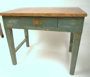 French Canadian Rustic Painted Furniture Solid Pine Table