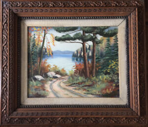 Antique signed painting in a solid wood carved antique frame