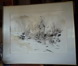 """Winter Abstract W/C by John Bennett RCA, OSA, """"Hint of Spring"""""""