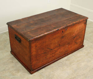 Antique English Red Painted Pine Trunk