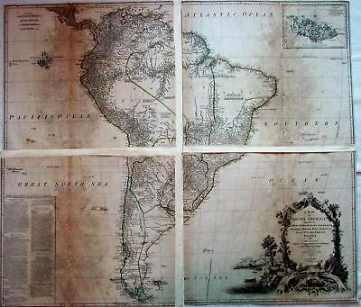 South America Huge 1775 Sayer antique wall map 4 SHEETS decorative bag of coins