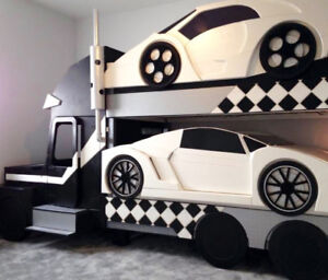 CAR CARRIER Twin Size Bunk Beds w/ Storage .. ♥‿♥