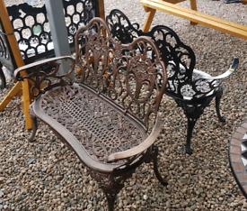 2 seater cast & aluminium garden benches
