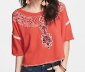 NWT Free People tribal embroidered sweatshirt Small Retail$118