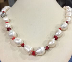 """20"""" New 10-11mm Freshwater rice pearl & red coral necklace"""