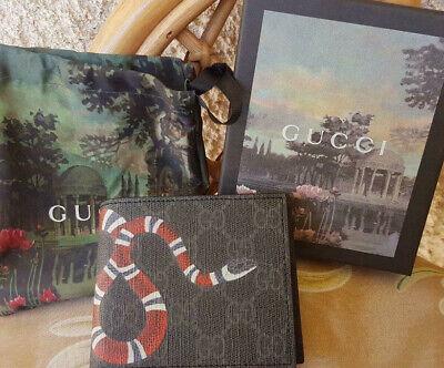 Gucci Mens GG Black Grey Supreme Snake Bifold Wallet - Card Wallet