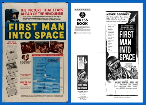 FIRST MAN INTO SPACE pressbook AND POSTER, Marshall Thompson, Marla Landi