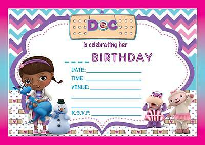 DOC MCSTUFFINS CHILDREN'S BIRTHDAY PARTY INVITATIONS INVITES 10,20,30,40,50,60