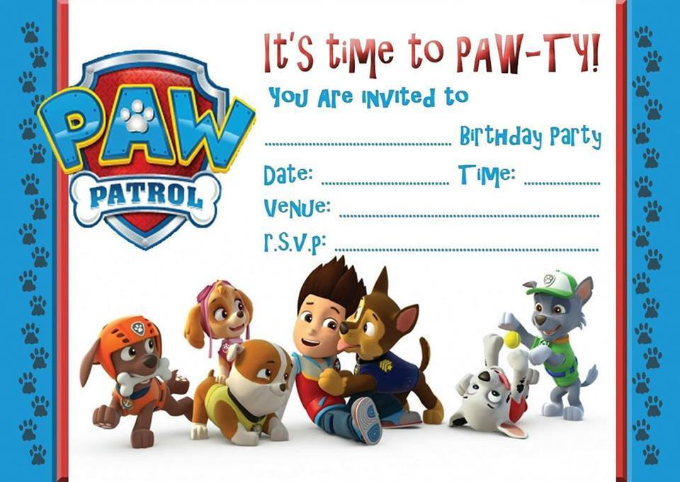 PAW PATROL BIRTHDAY KIDS PARTY INVITATIONS INVITES  WITH OR