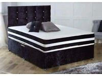 BLACK CRUSHED VELVET DIVAN BED AND MATTRESS, SINGLE,DOUBLE AND KING SIZE AND HEADBOARD