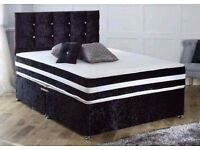"►►FREE SAME DAY DELIVERY►► BRAND NEW CRUSHED VELVET DIVAN BED + 13"" THICK MEMORY FOAM ORTHO MATTRESS"