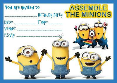 MINIONS DESPICABLE ME BIRTHDAY PARTY INVITATION INVITES WITH | WITHOUT ENVELOPES](Despicable Me Birthday Invitations)