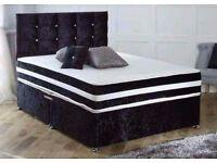 BRAND NEW!! Small Double Or Double Crushed Velvet Divan Bed Base Memory Foam Full Foam Mattress