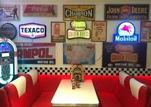 RETRO DINER, MAN CAVE COLLECTION FOR SALE! LIGHTS SIGNS, OIL CANS Albany Creek Brisbane North East Preview