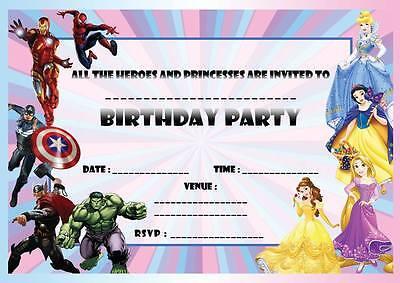 PRINCESS SUPER HERO'S BIRTHDAY PARTY INVITATIONS KIDS JOINT INVITES BOYS