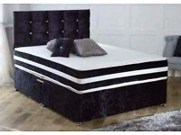 Crushed Velvet Bed Set + High Density 3D Open Sprung Memory Mattress + Matching Headboard