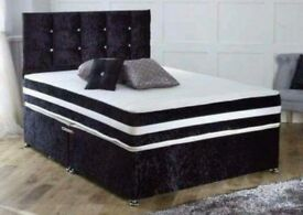 🌺🌺SAME DAY DROP🌺 BRAND NEW DOUBLE AND KING CRUSHED VELVET DIVAN BED WITH DEEP QUILT