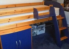 Cresta Scallywag Cabin Bed with Cupboard Unit, Ladder and Shelf