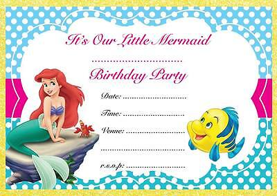 THE LITTLE MERMAID BIRTHDAY PARTY INVITATIONS INVITES CHILDREN'S ARIEL PRINCESS (Ariel Little Mermaid Party)