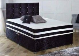 BLACK, CREAM OR SILVER ! BRAND NEW DOUBLE CRUSH VELVET DIVAN BED WITH WIDE RANGE OF MATTRESS OPTION
