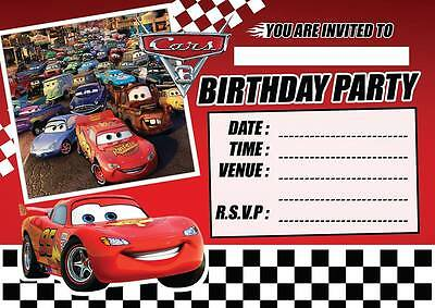 Cars Birthday Invitations (CARS 3 LIGHTENING MCQUEEN  CHILDRENS BIRTHDAY PARTY INVITATIONS INVITES KIDS)