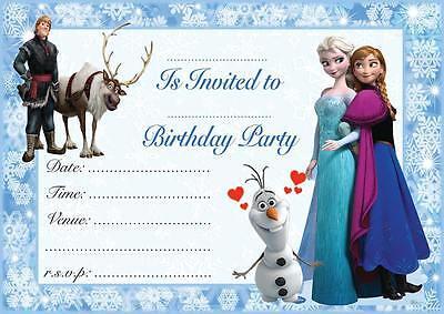 FROZEN ELSA ANNA CHILDREN'S BIRTHDAY PARTY INVITATIONS INVITES 10,20,30,40,50