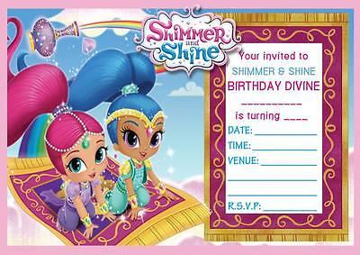 SHIMMER & SHINE CHILDREN'S BIRTHDAY PARTY INVITATIONS INVITES 10,20,30,40,50,60