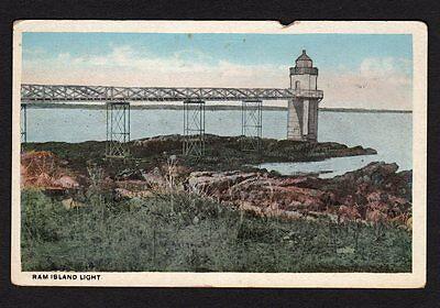 Lighthouse Postcard Ram Island Light, Maine