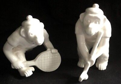 Fitz and Floyd Athletic Monkey Pair Playing Golf & Tennis Porcelain Figurines