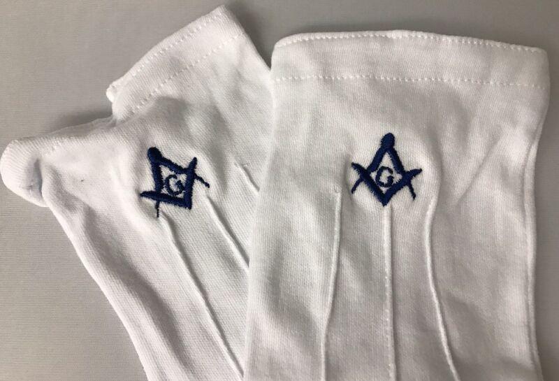 Freemason Masonic White Dress Gloves with Blue Emblem