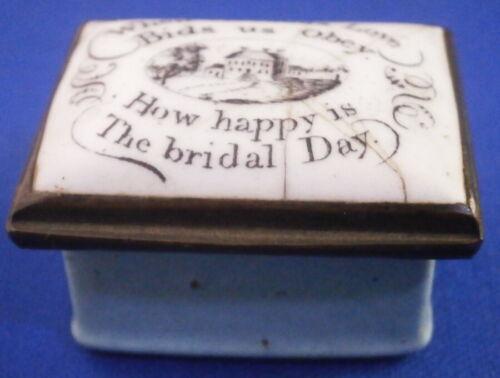 Antique 18thC Staffordshire Enamel Marriage Pill Box Bilston Battersea English