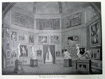 Uffizi Gallery - TRIBUNE ROOM MEDICI VENUS UFFIZI ART GALLERY FLORENCE ~ 1882 Art Print Engraving