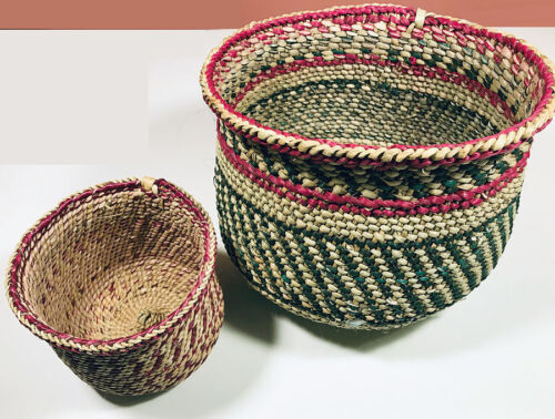 Vintage Handmade African Baskets - Open Top - Rounded Bottom