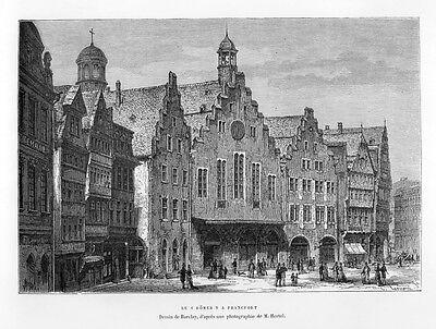 Frankfurt, der Römer, Original-Holzstich von 1878