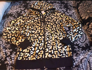 New with tags ladies zip up leopard print hoodie