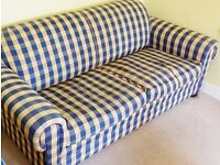 Double Sofa Bed Blue Yellow Check Mechanical Pull Out Full SIze Bed