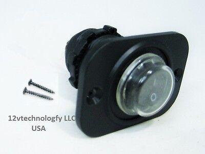 Waterproof Round Rocker Toggle Switch Panel Socket Spst Marine On-off 12v Black