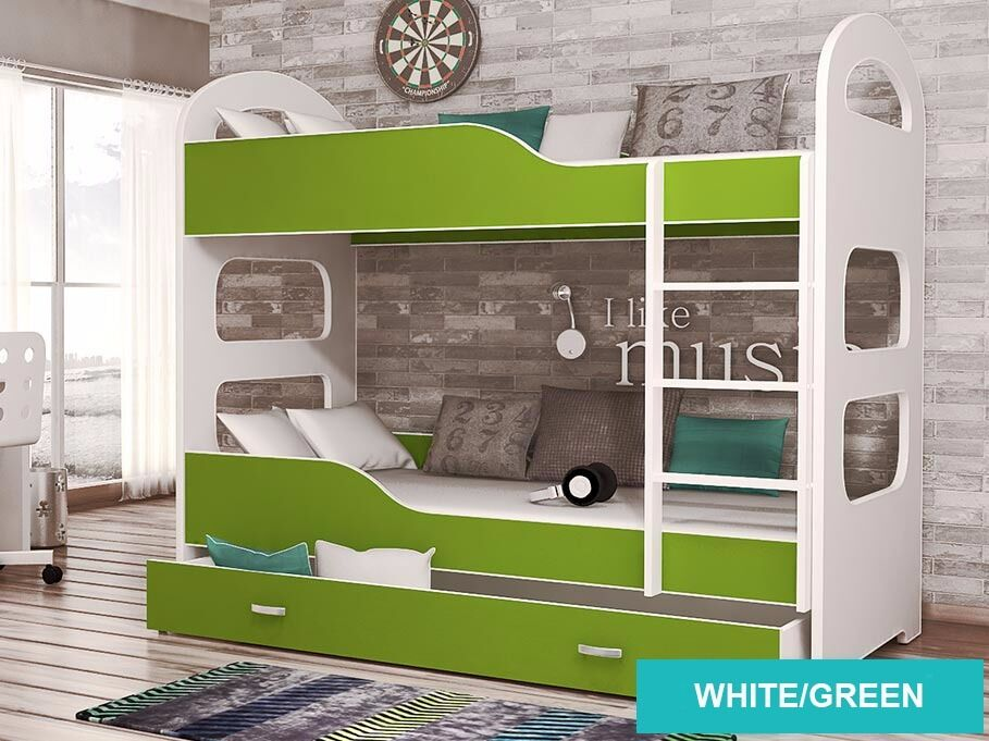 Dominic Children S Bunk Bed In White Green With Two Mattresses And A