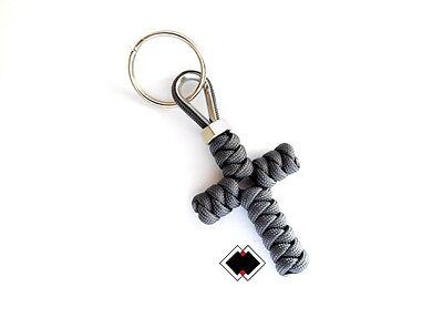 Cross keychain - 550 Paracord - Grey - Handmade in USA - Paracord Cross