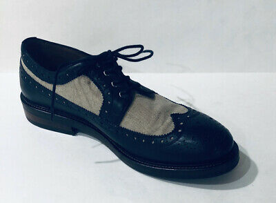 Zara Man Dress Shoes Size 44 Mens 10 Oxfords Wingtip Brogue Leather Navy Blue