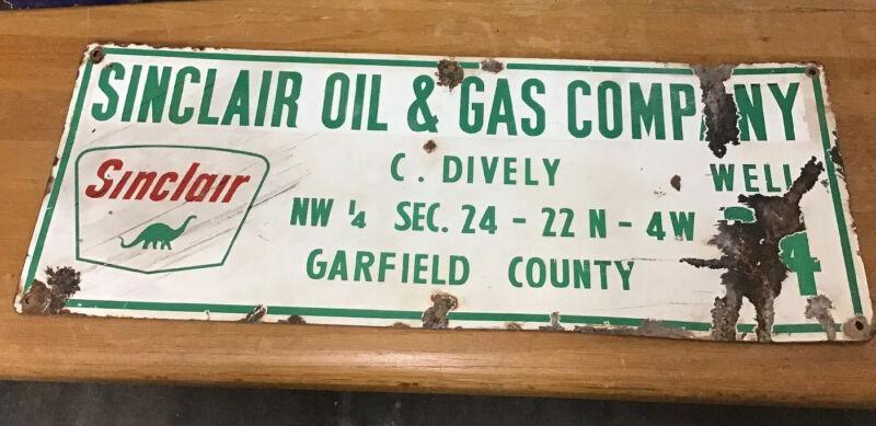 Sinclair Oil & Gas Co Original Porcelain Oil Gas Well Lease Oil Compny Sign