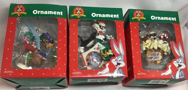 Lot 3 Looney Tunes Matrix Ornaments Sylvester TWEETY 1998 TAZ, ROAD RUNNER 👀